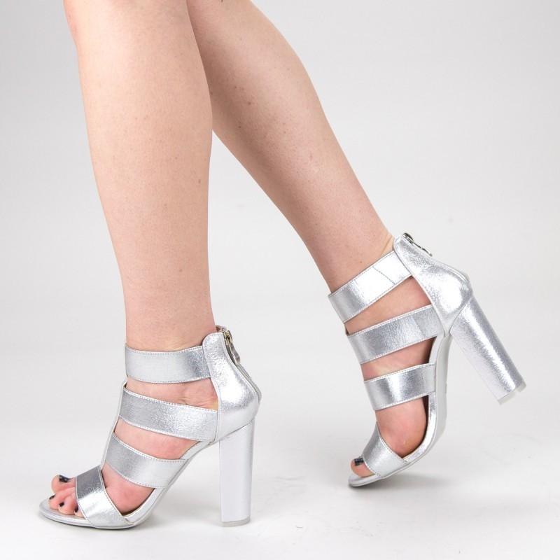 Sandale Dama cu Toc XKK170 Silver Mei