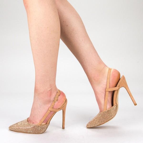 Pantofi Dama cu Toc KV18 Champagne Mei