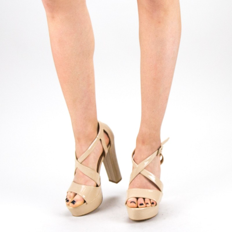Sandale Dama cu Toc si Platforma KV12 Nude Mei