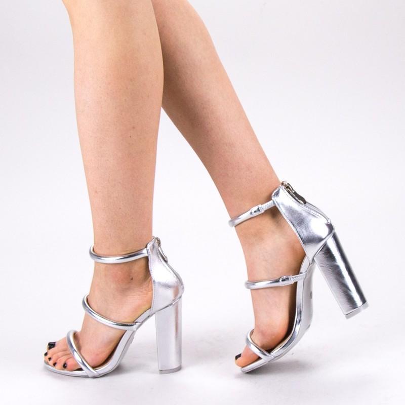 Sandale Dama cu Toc XKK153A Silver Mei