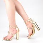 Sandale Dama cu Toc XKK153A Gold Mei
