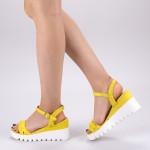 Sandale Dama cu Toc si Platforma LM255 Yellow Mei