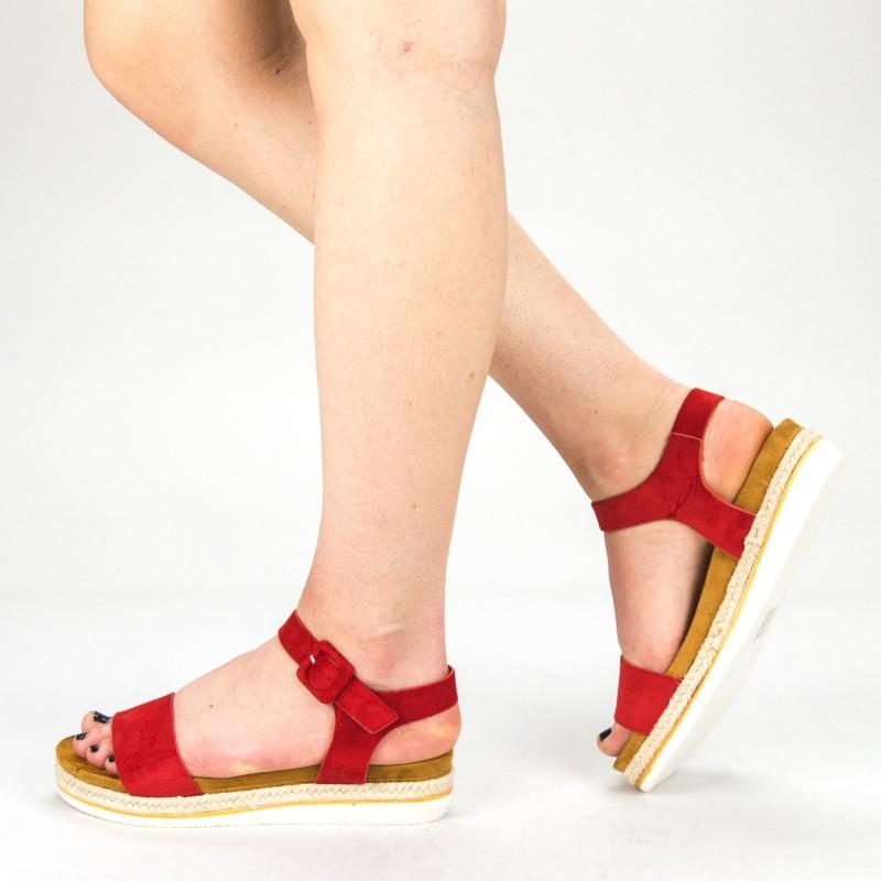Sandale Dama cu Toc si Platforma WT63 Red Mei