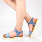 Sandale Dama cu Toc si Platforma WT63 Blue Mei