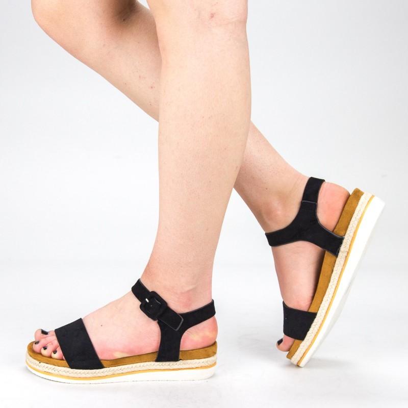 Sandale Dama cu Toc si Platforma WT63 Black Mei
