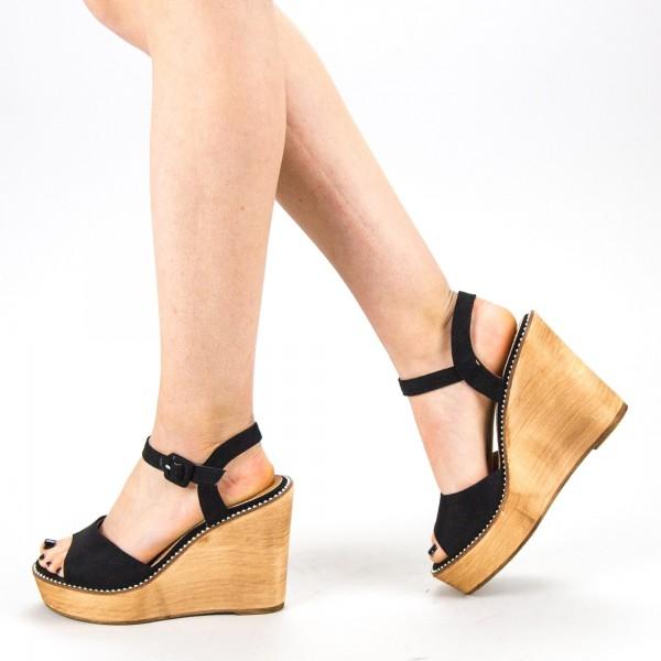 Sandale Dama cu Toc si Platforma WT62 SD Black Mei