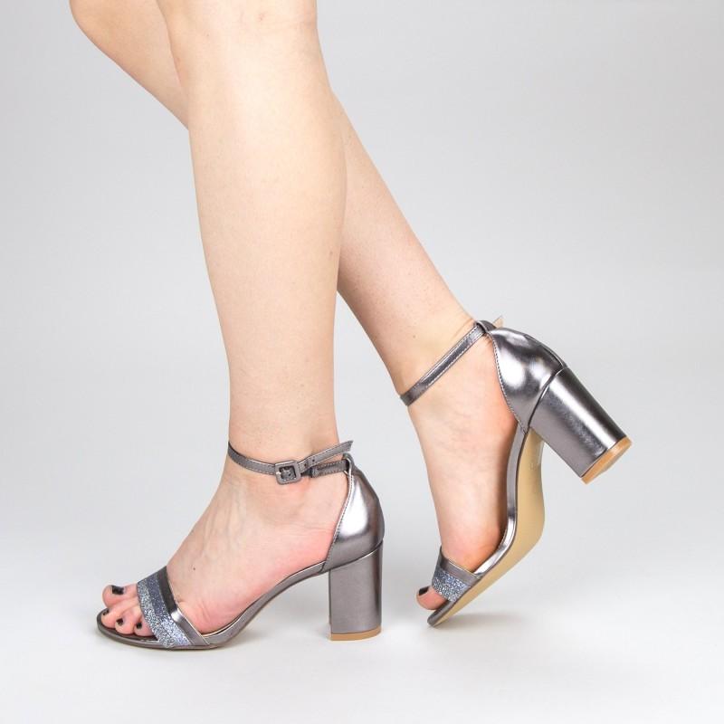Sandale Dama cu Toc YFF3 Pewter Mei