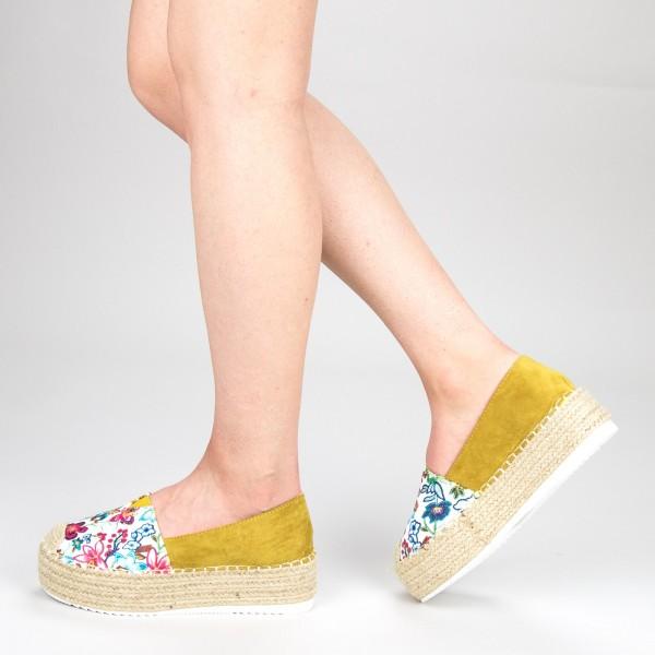 Pantofi Casual Dama cu Platforma FS6 Yellow Mei
