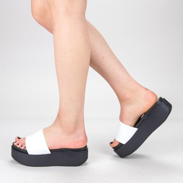Papuci Dama cu Platforma TG17 White Mei