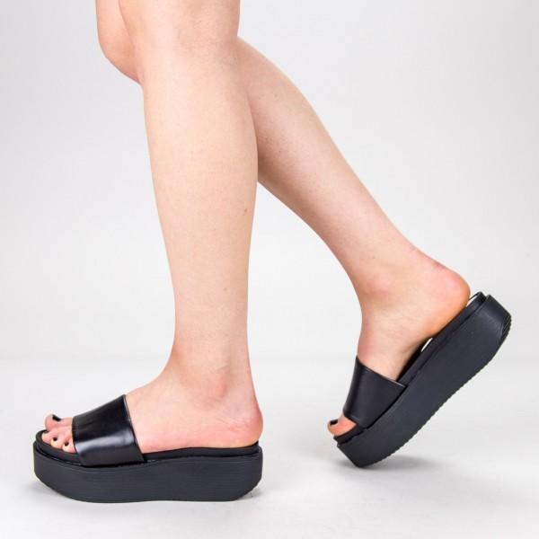Papuci Dama cu Platforma TG17 Black Mei