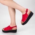 Sandale Dama cu Platforma 266-13 Red Mulanka