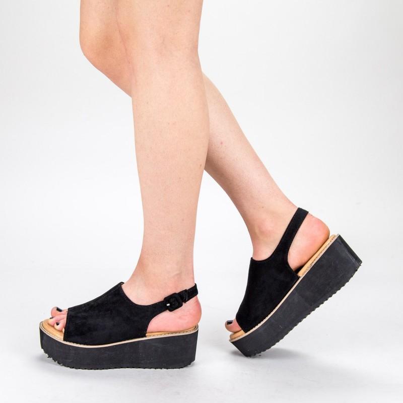 Sandale Dama cu Platforma 266-13 Black Mulanka