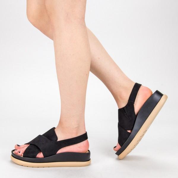Sandale Dama cu Platforma G202 Black Mulanka