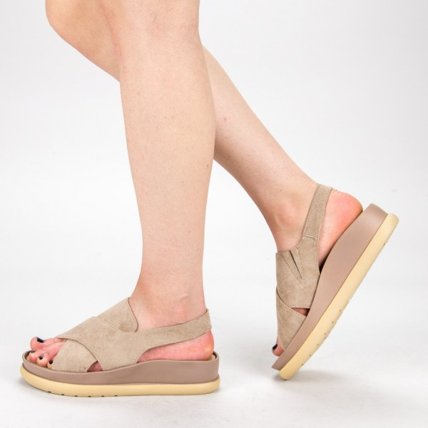 Sandale Dama cu Platforma G202 Beige Mulanka