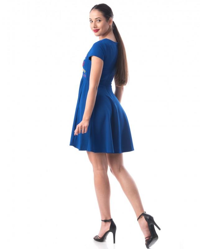 Rochie Dama 8113-2 FLORI MULTICOLORE Albastru Adrom