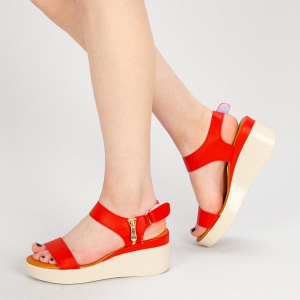 Sandale Dama cu Toc si Platforma QZL226 Red Mei