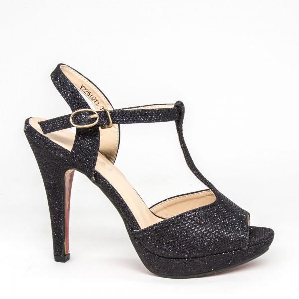 Pantofi cu Toc si Platforma Y225 Black Mei