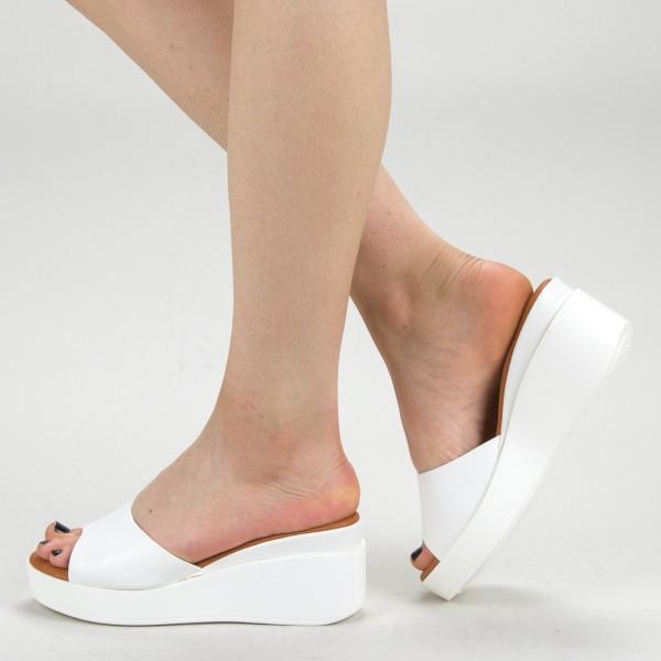 Papuci Dama cu Platforma QZL220 White Mei