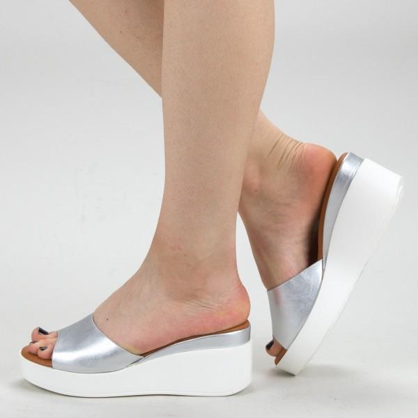 Papuci Dama cu Platforma QZL220 Silver Mei