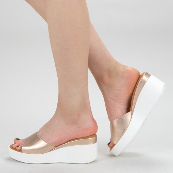 Papuci Dama cu Platforma QZL220 Champagne Mei