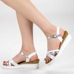 Sandale Dama cu Platforma YBS32 White Mei
