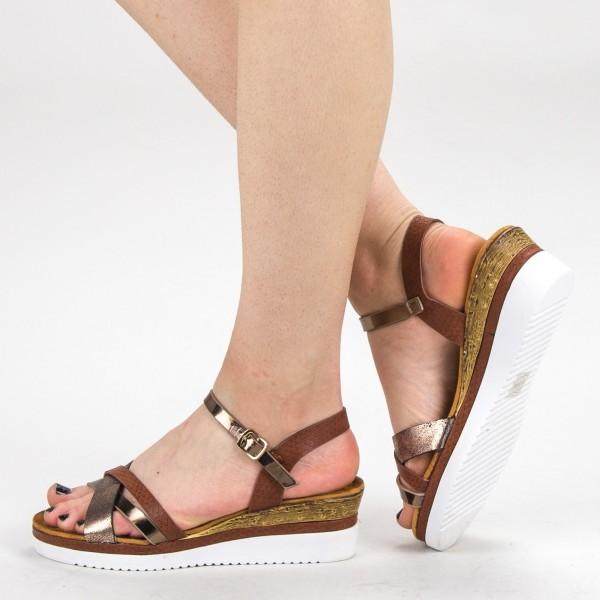 Sandale Dama cu Platforma YBS32 Brown Mei