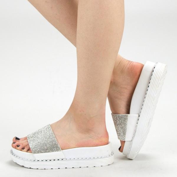 Papuci Dama cu Platforma WS130 White Mei