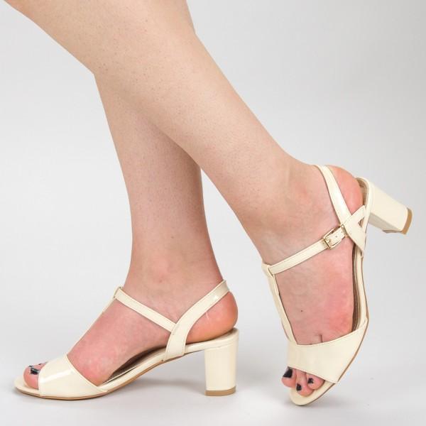 Sandale Dama cu Toc WH1001 Beige Mei