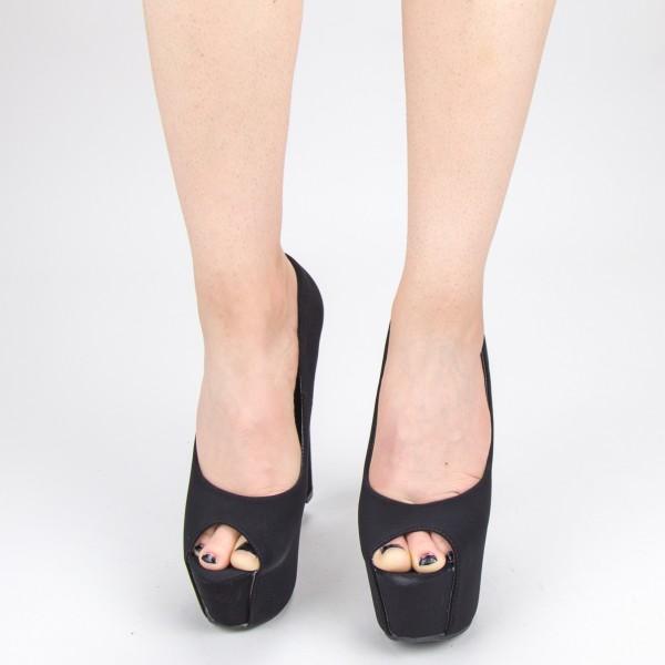 Sandale Dama cu Toc si Platforma HLX71 Black Mei