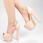 Sandale Dama cu Toc si Platforma HLX72 Nude Mei