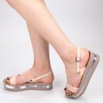 Sandale Dama cu Platforma CS25 Beige Mei
