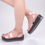 Sandale Dama cu Platforma CS26 Champagne Mei