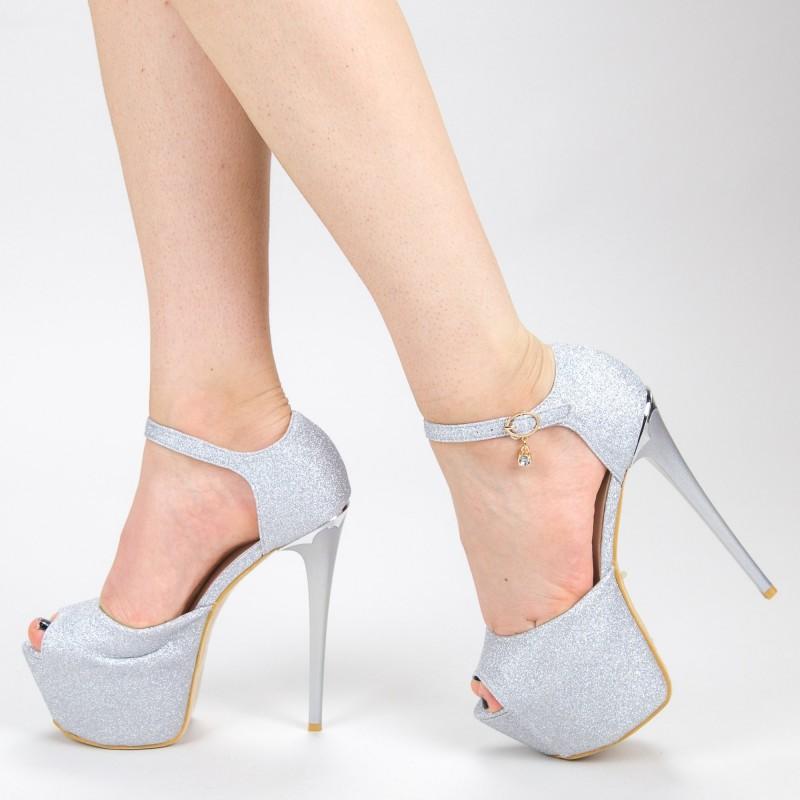 Sandale Dama cu Toc si Platforma HLX75A Silver Mei