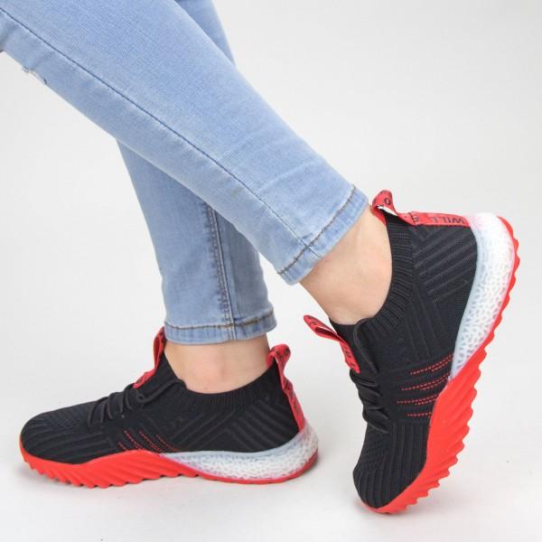 Pantofi Sport Dama YKQ70 Black-red Mei
