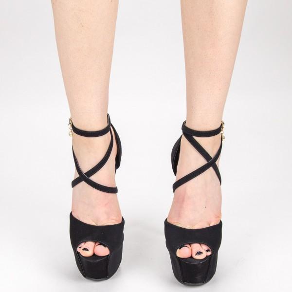 Sandale Dama cu Toc si Platforma HLX78 Black Mei