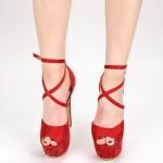 Sandale Dama cu Toc si Platforma HLX78 Red Mei