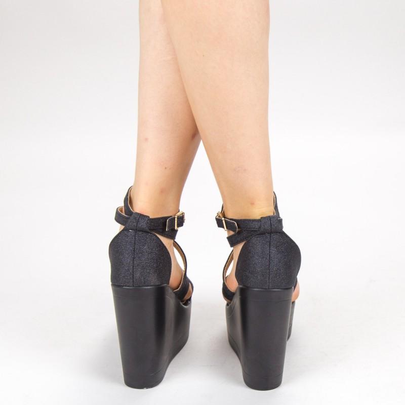 Sandale Dama cu Platforma LM259B Black Mei