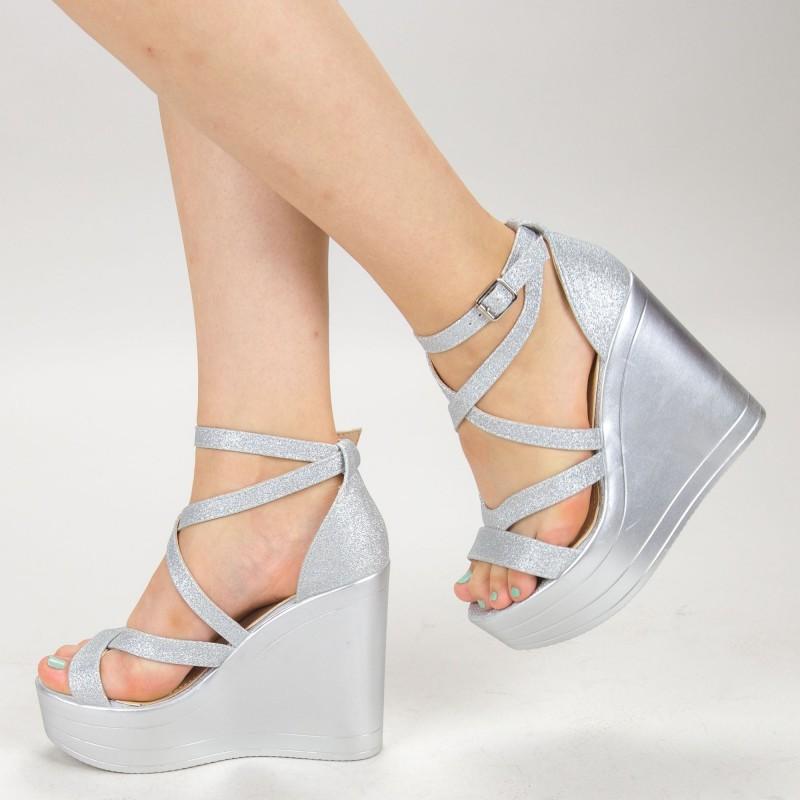 Sandale Dama cu Platforma LM259B Silver Mei