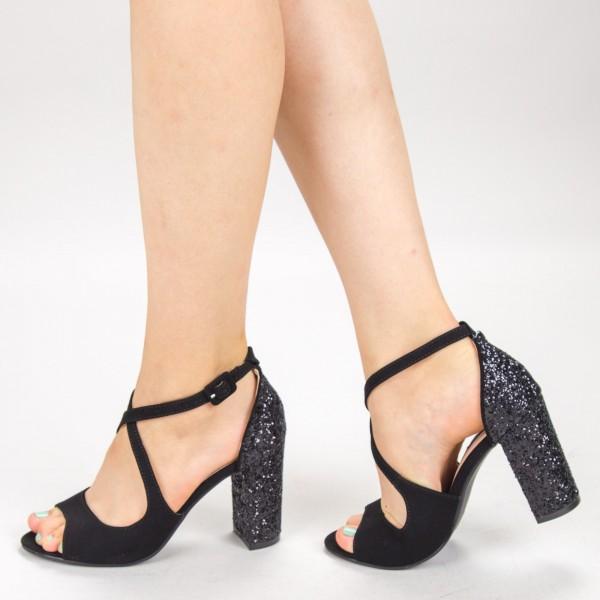 Sandale Dama cu Toc XD83F Black Mei