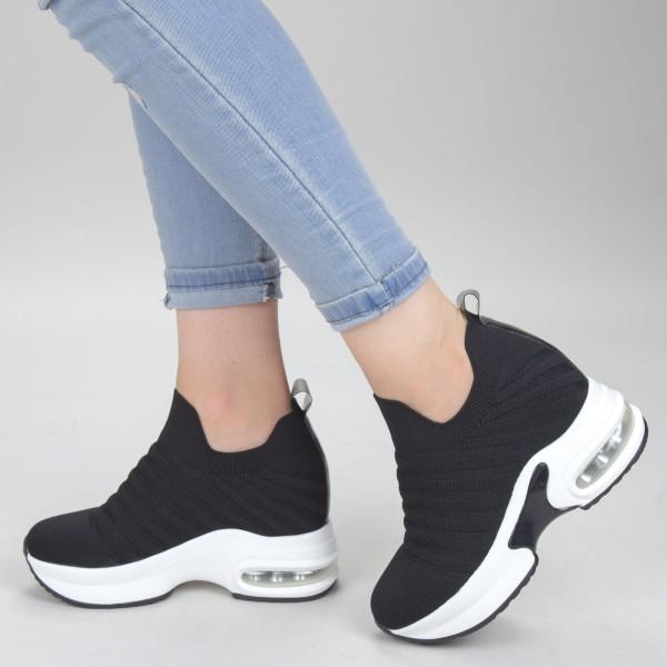 Pantofi Sport Dama cu Platforma SJN278 Black-white Mei