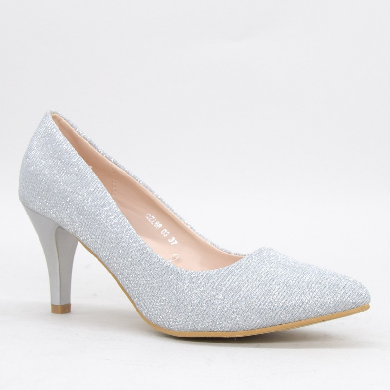 Pantofi cu Toc QZL68 Silver Mei