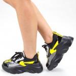 Pantofi Sport Dama cu Platforma 191 PSDP Black-yellow Sport Fashion