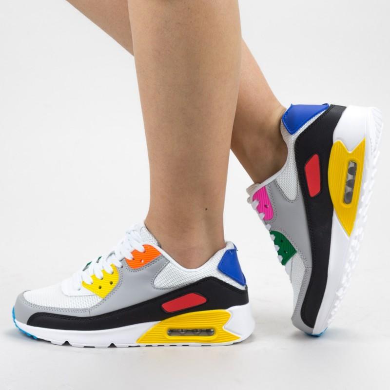 Pantofi Sport Dama 0590 PSD White-Yellow Mei