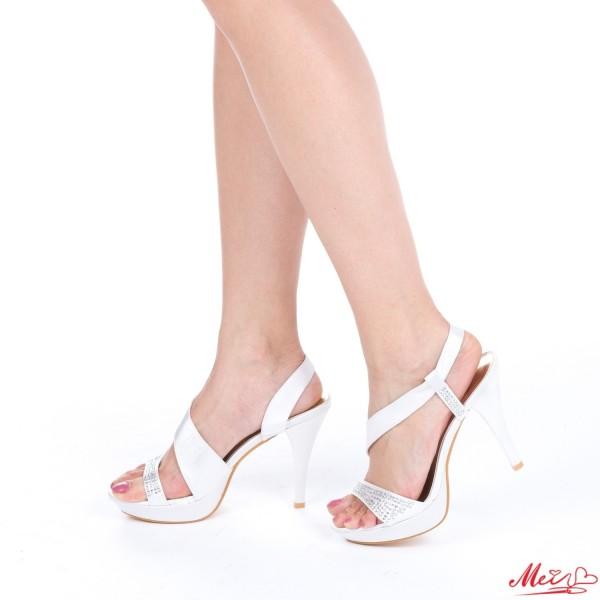 Sandale Dama cu Toc si Platforma GH13 White Mei