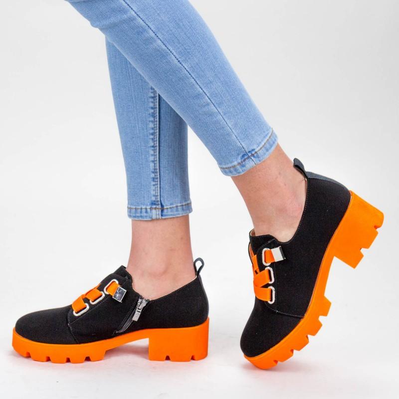 Pantofi Casual Dama ZP1975 Black-Orange Mei