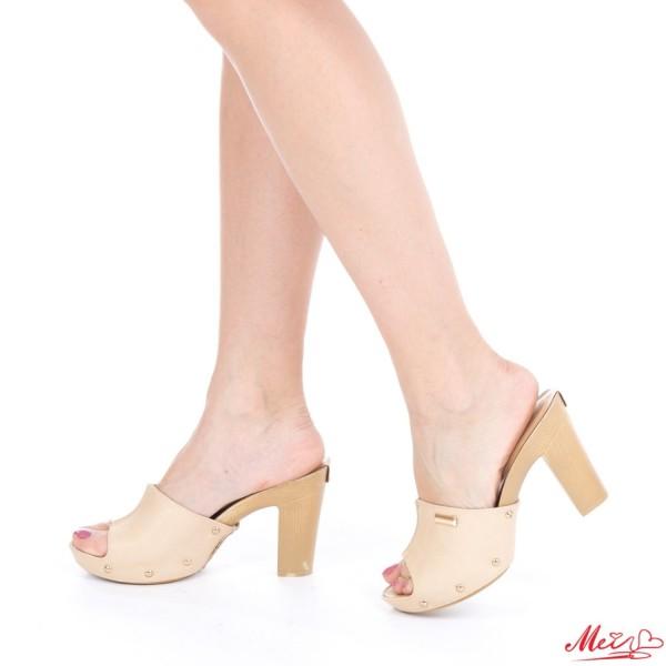 Papuci Dama cu Toc GH20 Beige Mei