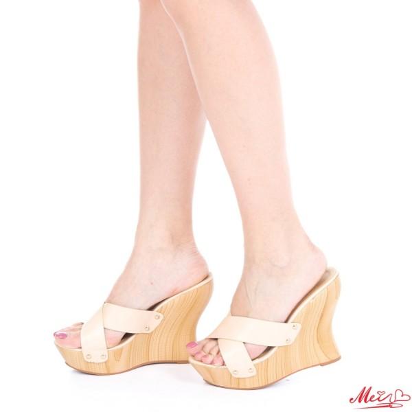 Papuci Dama cu Platforma GH26 Beige Mei