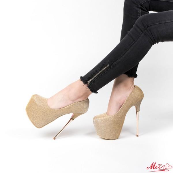 Pantofi cu Toc si Platforma GM12 Gold Mei