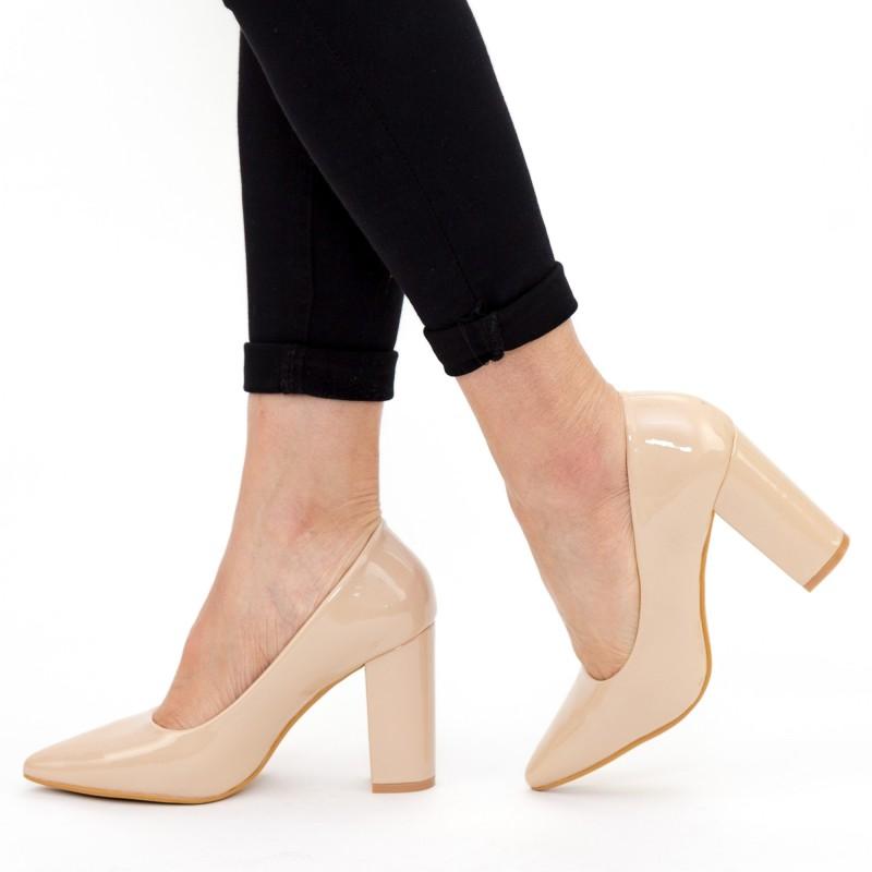 Pantofi cu Toc gros TY6B Nude (M13) Mei
