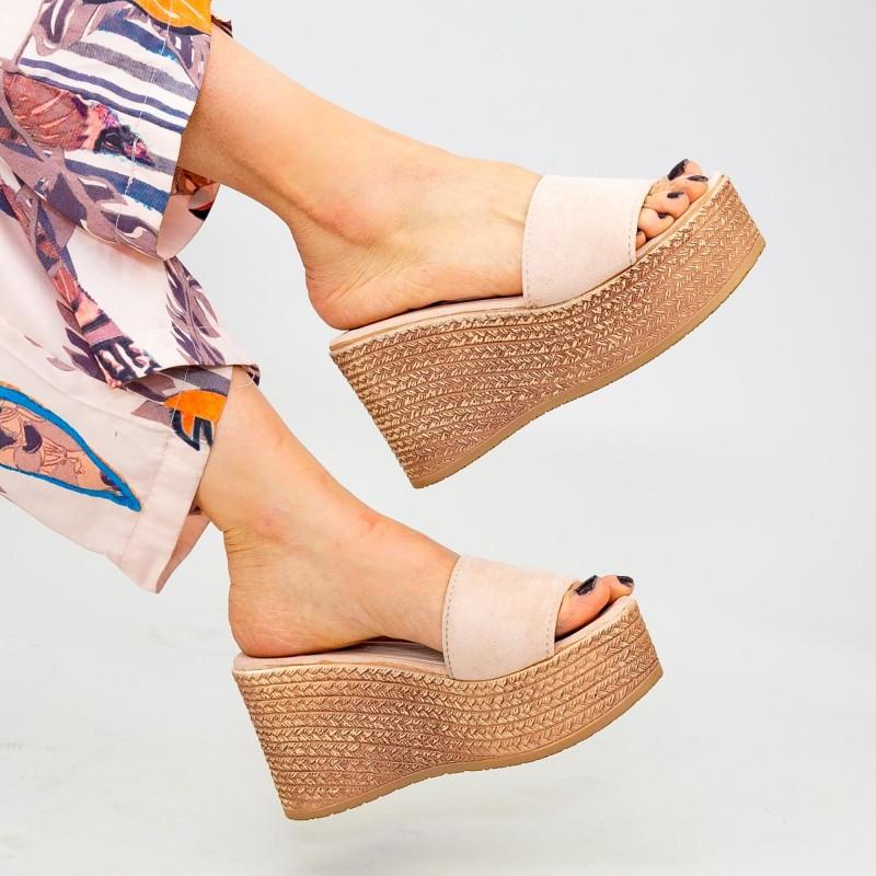 Papuci cu Platforma Dama WS116 Beige Mei
